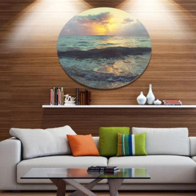 Designart Colorful Bluish Waters At Sunset Seascape Metal Circle Wall Art