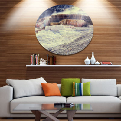 Designart Hot Springs in Yellowstone Seascape Metal Circle Wall Art