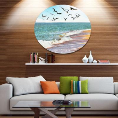 Designart Sea Gulls over the Seashore Seashore Metal Circle Wall Art