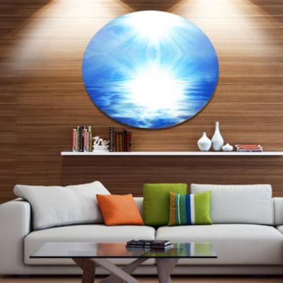 Designart Blue Sky Mirrored in Blue Sea Seascape Metal Circle Wall Art