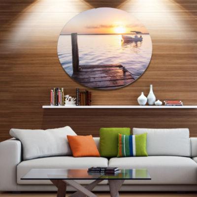 Designart Boat View From Boardwalk on Beach Seashore Metal Circle Wall Art