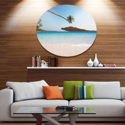 Designart Long Coconut Palm into the Sea SeascapeMetal Circle Wall Art
