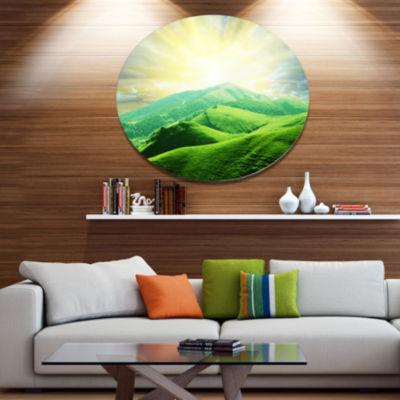 Designart Green Mountains under Sun Landscape Metal Circle Wall Art