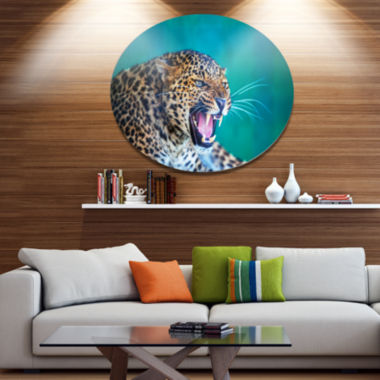 Designart Wild Leopard Close Up View Abstract Metal Circle Wall Art
