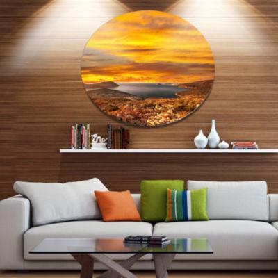 Designart Beautiful Landscape under Yellow Sky Landscape Metal Circle Wall Art