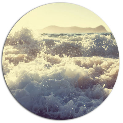 Designart Roaring White Waves on Beach Seascape Metal Circle Wall Art