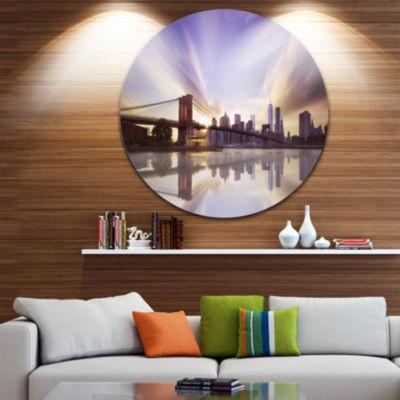 Design Art Purple Sky Over Brooklyn Bridge CircleMetal Wall Art