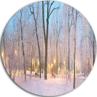 Design Art Dark Foggy Mariinsky Garden Circle Metal Wall Art