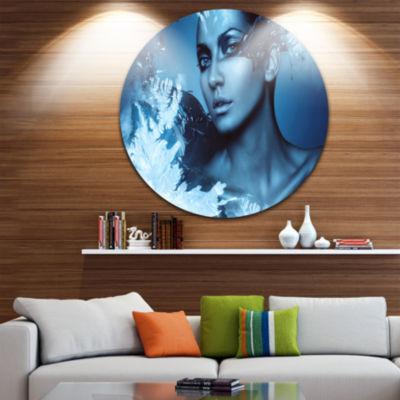 Design Art Woman with Snow Splash Circle Metal Wall Art