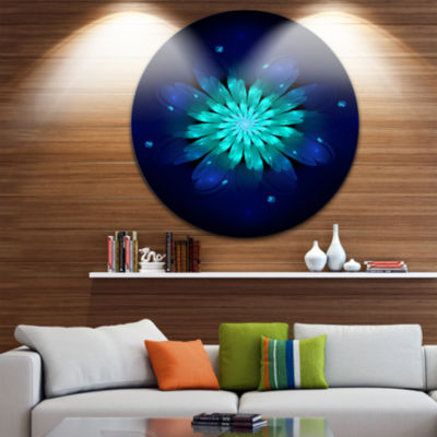 Design Art Fractal Flower Blue N Turquoise CircleMetal Wall Art