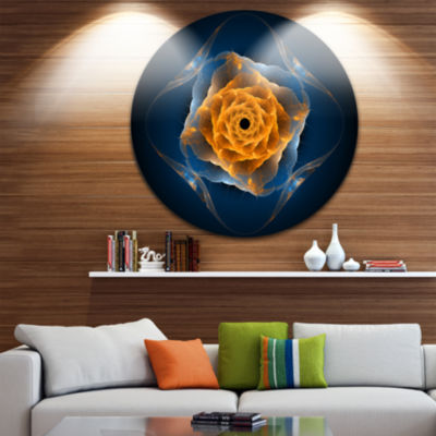 Design Art Blue Nautilus Shell Pattern Circle Metal Wall Art