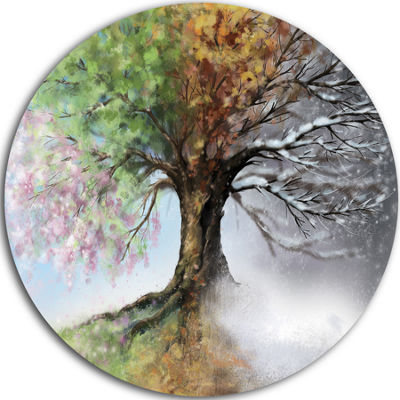 Design Art Tree with Four Seasons Circle Metal Wall Art