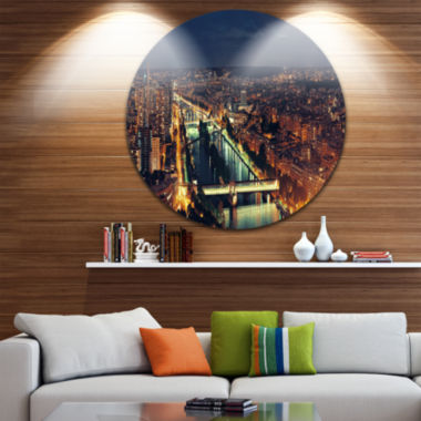 Design Art Paris City Night Skyline Circle Metal Wall Art