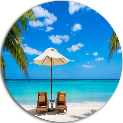 Design Art Turquoise Beach with Chairs Circle Metal Wall Art