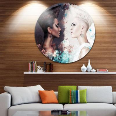 Design Art Evil and Good Women Face to Face CircleMetal Wall Art