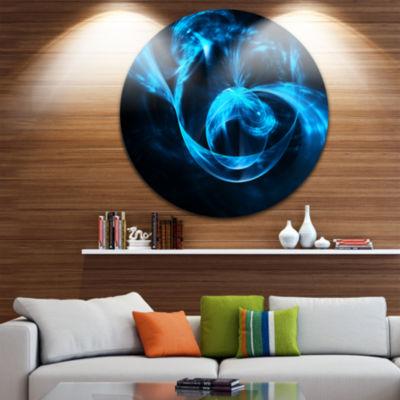 Design Art Fractal 3D Circled Blue Waves Circle Metal Wall Art