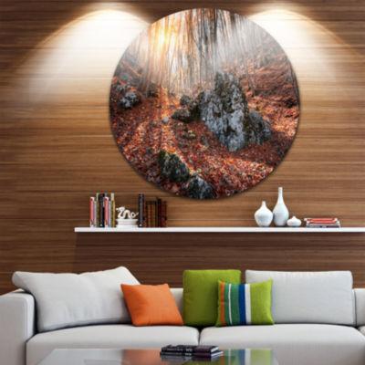 Design Art Rocky Red Autumn Forest Circle Metal Wall Art