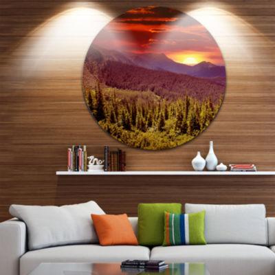 Design Art Colorful Sunrise Over Mountains CircleMetal Wall Art