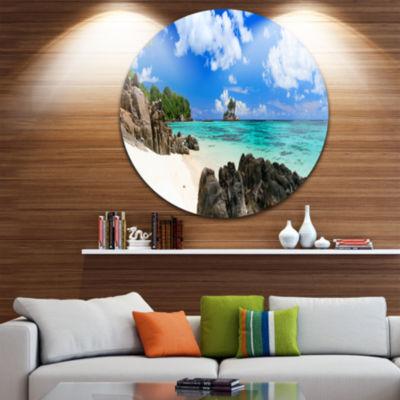 Design Art Ideal Beach in Seychelles Circle MetalWall Art