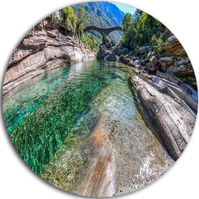 Design Art Ponte Dei Salti Val Verzasca Circle Metal Wall Art