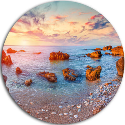 Design Art Mediterranean Sea Sunrise Circle MetalWall Art