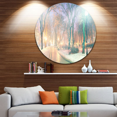 Design Art Snowy Path in Mariinsky Garden Circle Metal Wall Art