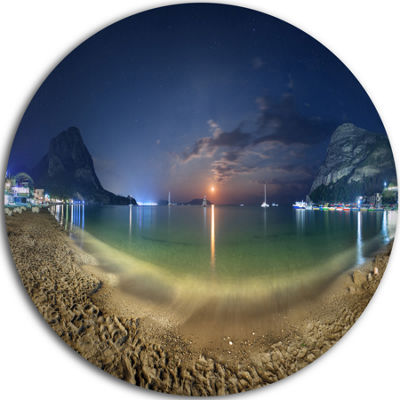 Design Art Beach with Lunar Path Circle Metal WallArt