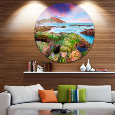 Design Art Giallonardo Beach Spring Sunset CircleMetal Wall Art