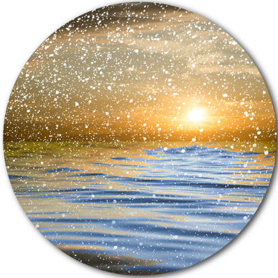 Design Art Clouds with Reflection in Water CircleMetal Wall Art