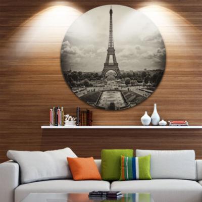 Design Art Vintage View of Paris France Circle Metal Wall Art