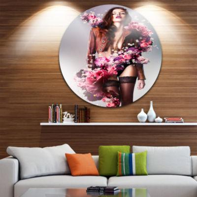 Design Art Erotic Flower Woman in Jacket Circle Metal Wall Art