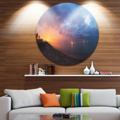 Design Art Summer Night with Blue Sky Circle MetalWall Art