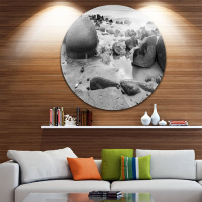 Design Art Moeraki Boulders Black n White Circle Metal Wall Art