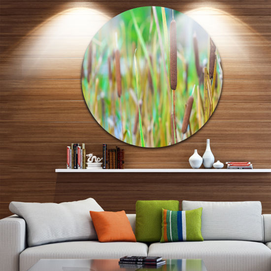 Design Art The Reeds Circle Metal Wall Art