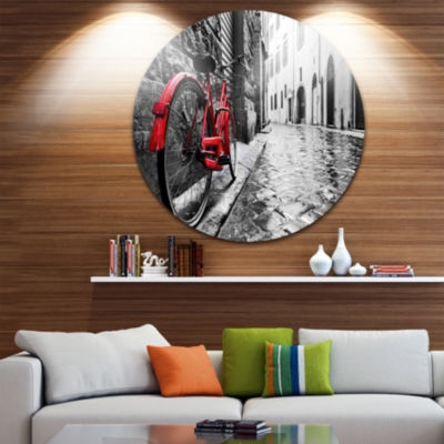 Design Art Retro Vintage Red Bike Circle Metal Wall Art