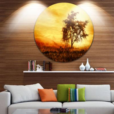 Design Art African Tree Silhouette Circle Metal Wall Art