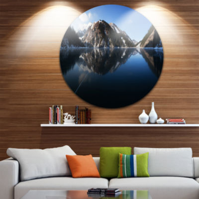 Design Art Frozen Mountain Lake Pano Landscape Round Circle Metal Wall Art