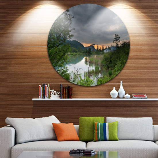 Design Art Stormy Weather Over Swamp Landscape Round Circle Metal Wall Art