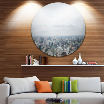 Design Art Panoramic Aerial View of Big City Landscape Round Circle Metal Wall Art