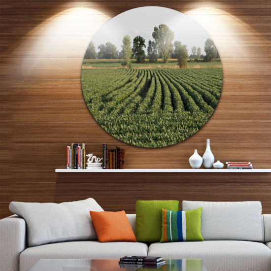 Design Art Wisconsin Soybean Field Rows LandscapeRound Circle Metal Wall Art