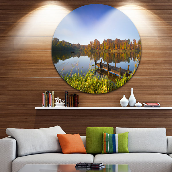 Design Art Still Waters of Fall Lake Landscape Round Circle Metal Wall Art