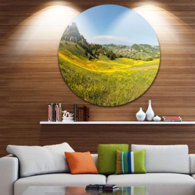 Design Art Italian Castle of Rossena Landscape Round Circle Metal Wall Art