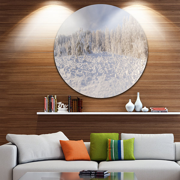 Design Art Wood Winter Glade Landscape Round Circle Metal Wall Art