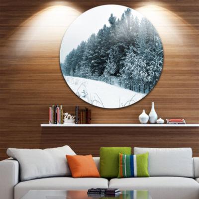 Design Art Dark Winter Trees Landscape Round Circle Metal Wall Art