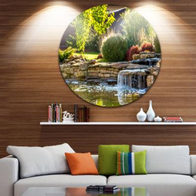Design Art Green Lake and Plants Landscape Round Circle Metal Wall Art