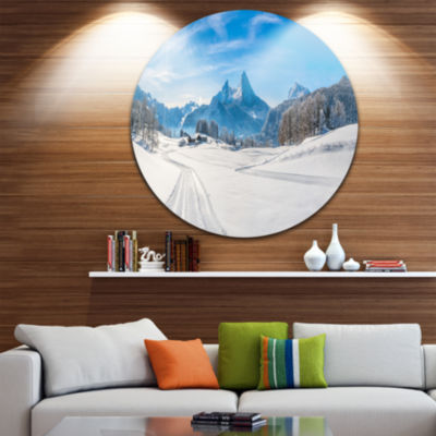 Design Art Winter in Bavarian Alps Panorama Landscape Round Circle Metal Wall Art