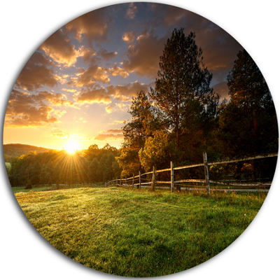 Design Art Fenced Ranch at Sunrise Landscape RoundCircle Metal Wall Art