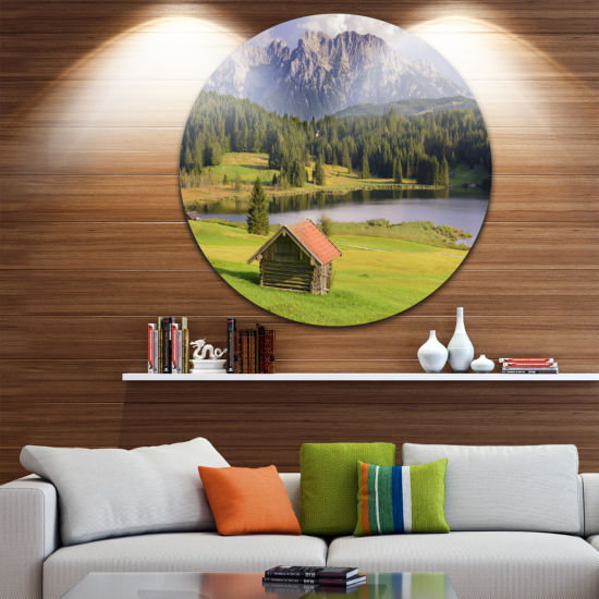 Design Art Bavaria with Mountains and Lake Landscape Round Circle Metal Wall Art