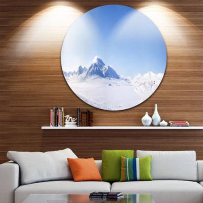 Design Art Vacant Winter Land Panorama Landscape Round Circle Metal Wall Art