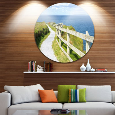 Design Art Cliff Walk on Wild Atlantic Way Landscape Round Circle Metal Wall Art